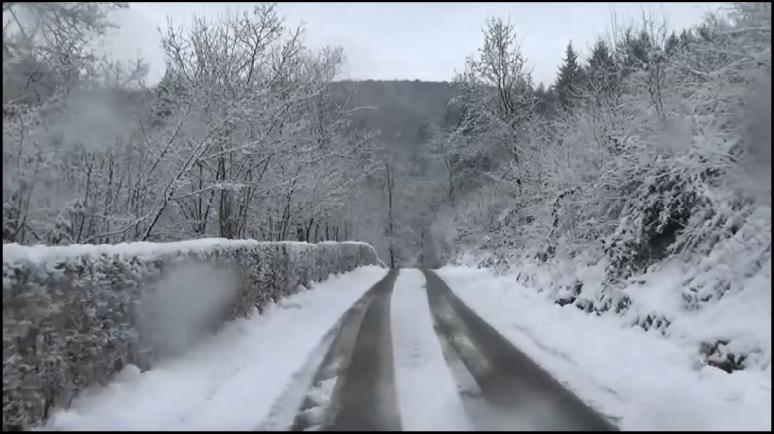 Driving on a snowy road