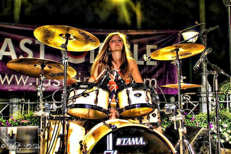 Mel on the drums